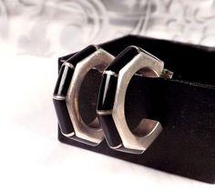 TAXCO Sterling Silver 950 Mexico Old Black Onyx Octagonal HOOP DANGLE Earrings #TB177