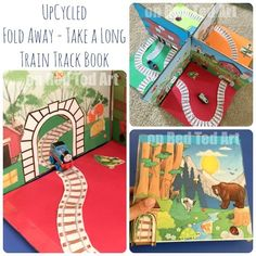 DIY Foldable Take Along Train Set - you have seen our fold away dolls house a while back. now we have the same cereal box upcycled craft, but as a fun fun fun train set. for Jacob! Projects For Kids, Diy For Kids, Crafts For Kids, Diy Projects, Toddler Fun, Toddler Preschool, Train Crafts, Transportation Theme, Train Set