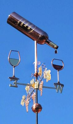 Wine Weathervane with Bottle Two Glasses and Two Grapes by West Coast Weathervanes.