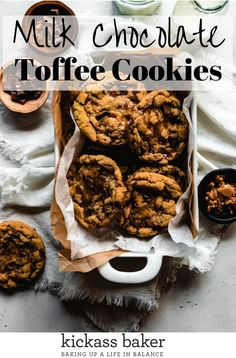This version of Milk Chocolate Toffee Cookies is filled to the brim with large hunks of good quality milk chocolate and melty pools of homemade toffee. Making your own toffee requires a few extra minutes but is so worthwhile! | kickassbaker.com  #milkchocolate #toffee #nutfree #bestcoookies #chocolatechipcookies #chocolatetoffee Toffee Cookie Recipe, Toffee Cookies, Cookie Recipes, Dessert Recipes, Baker Recipes, Homemade Desserts, Cake Cookies, Yummy Recipes, Free Recipes