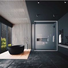 Minimal Interior Design Inspiration - Home Decor Interior Design Examples, Black Interior Design, Interior Design Inspiration, Design Ideas, Daily Inspiration, Black Tile Bathrooms, Bathroom Mirrors, Small Bathrooms, Dream Bathrooms