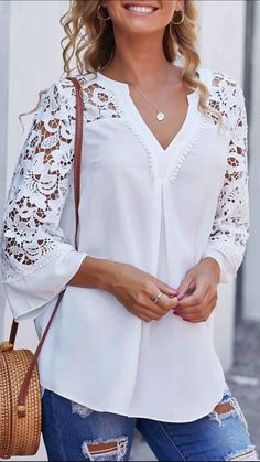 Women White Blouse Celmia Summer V neck Lace Shirts Sleeve Sexy Hollow Out Tunic Tops Casual Loose Solid Office Blusas Trendy Tops For Women, Blouses For Women, Blouse Styles, Blouse Designs, Mode Outfits, Fashion Outfits, Fashion Clothes, Punk Fashion, Lolita Fashion