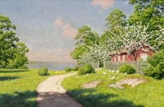 Cottage by the lake with the pecking hens - Johan Krouthén - The Athenaeum