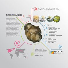 Narsarsukite was first described in 1900 for an occurrence in the Narsarsuk pegmatite in the Ilimaussaq intrusive complex of West Greenland. #science #nature #geology #minerals #rocks #infographic #earth #narsarsukite #greenland