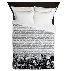 Vintage Alice Text And Border Queen Duvet