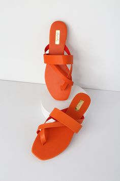 8351ee1dbe8 Slip into the Lizzy Orange Flat Sandals and let the vacay vibes roll! Soft  vegan