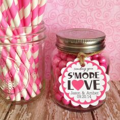 s'more love wedding labels custom smore wedding tags wedding favor tags wedding love tags pink wedding labels set of 20 2 inch tags #Pink #Wedding #PinkWedding #Paper