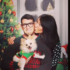 Hilarious ugly christmas sweater Christmas card picture! Pomeranian silly dog!