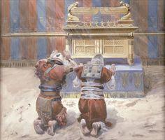 Representación de Moisés y Josué, arrodillados ante el arca.