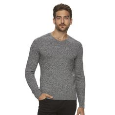 Men's Marc Anthony Slim-Fit Solid Cashmere-Blend V-Neck Sweater, Size: Small, Med Grey