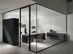 Cloison amovible de bureau en verre SPARK by Sinetica Industries