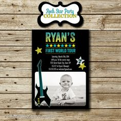 Your place to buy and sell all things handmade Reading City, Rock Star Party, Music Party, Invite, Invitations, Blues Rock, Party Printables, First World, Rock And Roll