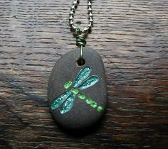Engraved Dragonfly Stone Necklace by Rocksteady on Etsy, $20.00