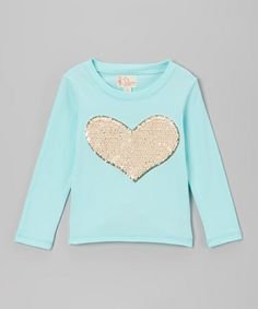 Look what I found on #zulily! Mint Sequin Heart Hi-Low Tee by Penelope Posey #zulilyfinds