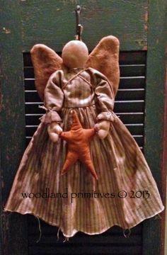 Angels Among Us Primitive Patterns Primitive Doll Patterns, Primitive Folk Art, Primitive Crafts, Country Primitive, Primitive Snowmen, Christmas Angels, Christmas Crafts, Christmas Christmas, Angel Crafts