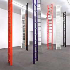 """#JimLambie's """"Shaved Ice"""" - an installation of mirrored ladders in #ArtBasel's Unlimited sector #AntonKernGallery"""