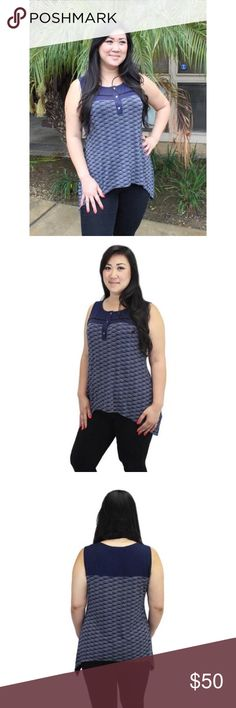 RELISHED Navy Print Trapeze Sleeveless Blouse Super comfortable sleeveless blouse, brand new in packaging! Relished Tops Blouses