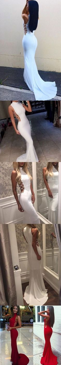 Affordable White Mermaid Sexy High Neck Long Prom Dresses
