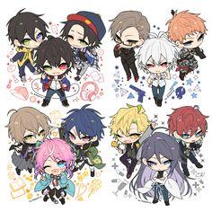 Anime Division All Stars ヒプノシスマイク(Matenrou Hypnosis Mic) HypMic (ヒプマイ) Chibi Boy, Kawaii Chibi, Cute Chibi, Anime Chibi, Anime Art Girl, Anime Guys, All Star, Cute Games, Rap Battle