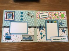 Two Cute as a Button pre-made scrapbook pages 12 x 12 by Carolsues
