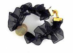 Bracelet tulle noir et bille treillis dorée