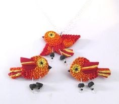 """Earrings and pendant set """"Chirpy"""", ERS 0501"""