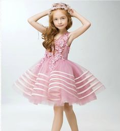 Girly Shop's Light Pink Embroidery Flower Applique Sweetheart Neckline Pageant Prom Princess Junior Bridesmaid Dress With Ribbon Trim Baby Girl Party Dresses, Birthday Dresses, Little Girl Dresses, Baby Dress, Girls Dresses, Flower Girl Dresses, Blue Ball Gowns, Junior Bridesmaid Dresses, Tight Dresses