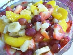 Secret Fruit Salad: The secret is dry vanilla pudding mix. It combines with all the juices from the fruit  makes a scrumptious dressing that coats every bite. People will ask you for the recipe its so good!