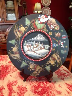 A Christmas Plate, painted with a Jo Sonja design, mom painted for me. LOVE IT! Thanks!