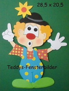 Teddys - Fensterbilder  22  ´  Clown 5  ` Tonkarton