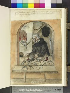 1549 Amb. 279.2° Folio 38 recto  making purse frames - shows forge, bellows, files, and vice