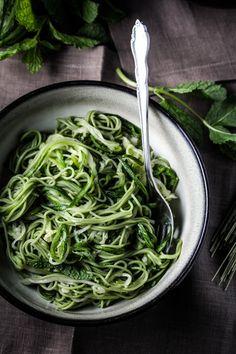 Green Tea & Zucchini Noodles with Honey-Ginger Sauce via Katie at the Kitchen Door