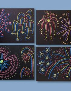 Chalk pastels on black construction paper Fireworks art (for New Year Around the World) theme unit. Primary School Art, Elementary Art, Around The World Theme, Fireworks Art, New Year Art, Scratch Art, New Year's Crafts, Theme Noel, School Art Projects