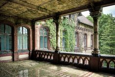 Love the idea of the patio with the windows that open like that. Abandoned Castles, Abandoned Mansions, Abandoned Houses, Derelict Places, Abandoned Places, Ancient Architecture, Beautiful Architecture, Beautiful Homes, Beautiful Places