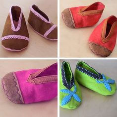 DIY - Free pattern to sew up these darling little baby shoes... from Heather Bailey Designs
