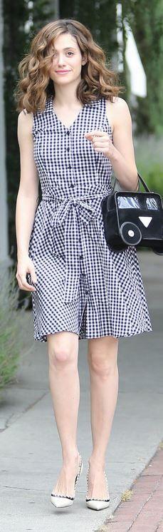 Who made Emmy Rossum's black handbag, white gingham print dress, and stitch pumps?