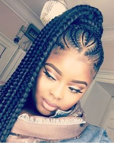 35 Feed In Braids Hairstyles For Natural Hair Feed In Braids The post 35 Feed In Braids Frisuren für natürliches Haar appeared first on Decoration and Outfits. Feed In Braids Hairstyles, Braided Ponytail Hairstyles, Ponytail Styles, Braid Styles, Curly Hair Styles, Natural Hair Styles, Feed In Braids Ponytail, Hair Updo, Pony Tail Braids