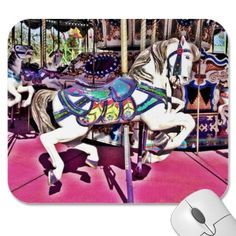 I took this picture at the carnival we took the kids to yesterday. Then altered the photo a bit and put it on a mousepad. Beautiful Carousel Horse Carnival Mousepad from Zazzle.com