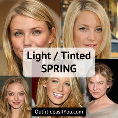 "Go to: Warm Skin Tone > Spring > Light Spring / Tinted Spring  You're a Light Spring! Also known as a ""tinted spring"" in the 4x4 color system. You are warm and LIGHT. Light spring eyes. Light hair. Light skin. Go ahead and download your light spring color palette and order you"