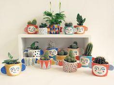 Herbert Green's hand painted cactus pots.