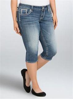 b6169e0b1 Plus Size Vigoss New York Capris - Medium Wash with Embellished Pockets  Women s Plus Size Jeans