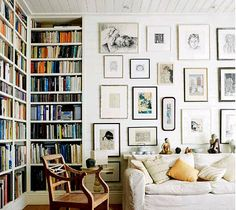 Art wall + bookshelf + library + living area