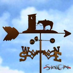 This weathervane is made of strong 14-gauge steel with a sealed ball bearing in the wind cups. The weathervane is coated with copper-colored powder coat paint, and features a horse waiting outside of