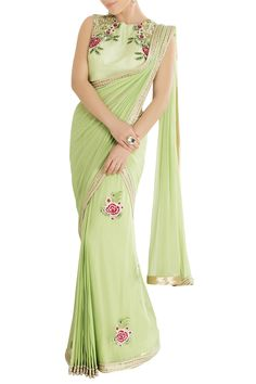 Shop Rajat & Shraddha - Mint green sari with embroidery Latest Collection Available at Aza Fashions