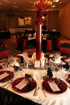 red black and white wedding ideas table numbers