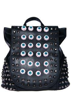 Riveted  Eyeball Embellishment Backpack