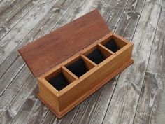 Custom, complete handmade, Wooden jewellery-watch box from solid IROCO hardwood with 4 pockets finished in oil This box has been made using