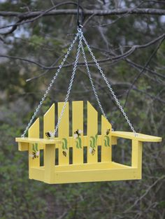 This tiny chair swing is actually a bird feeder!