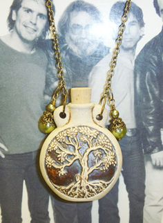 Tree of Life  Oil Bottle Pendant Necklace by sherrishempdesigns, $24.99