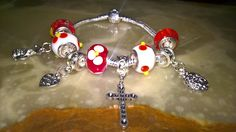 Happy easter! easter themed silver charm bracelet 925 stamped Murano glass charm bracelet! by PetitechicboutiqueGB on Etsy